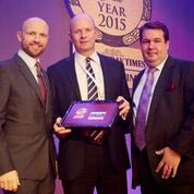 Charlie collecting the award from England Rugby Legend and Question of Sport captain Matt Dawson)